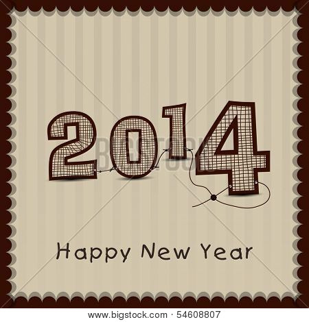Stylish Happy New Year 2014 celebration flyer, banner, poster or invitation on vintage brown background.
