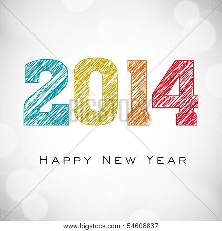 Happy New Year 2014 celebrations flyer, banner, poster or invitation with colorful text on shiny grey background.