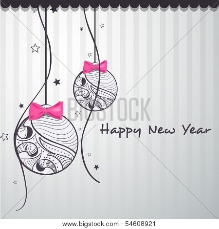 Happy New Year 2014 celebration flyer, banner, poster or invitation with floral decorated hanging Xmas ball and pink bow on grey background.