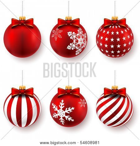Red christmas balls on gift bows isolated on white. Set. Vector illustration.