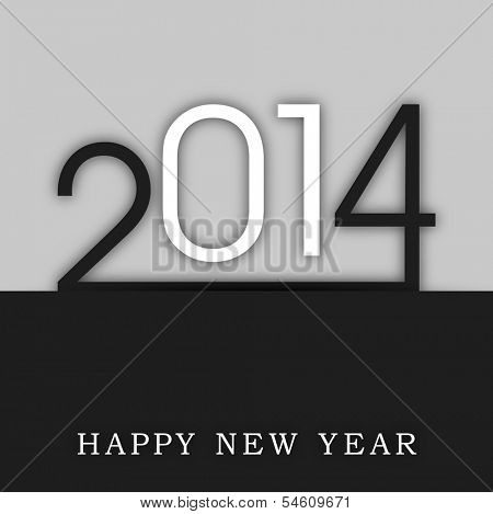 Happy New Year 2014 celebration flyer, banner, poster or invitation with stylish text on grey and black background.