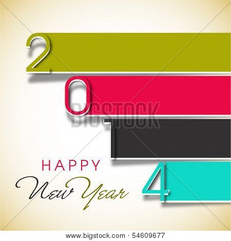 Stylish Happy New Year 2014 celebration flyer, banner, poster or invitation with colorful text.