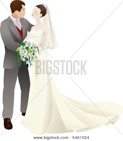 bride and groom in love wedding vector illustration