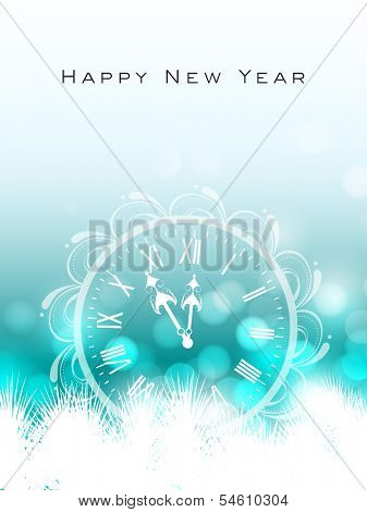 Happy New Year 2014 celebration flyer, banner, poster or invitation with Clock striking to celebration time on snowflakes decorated green background.