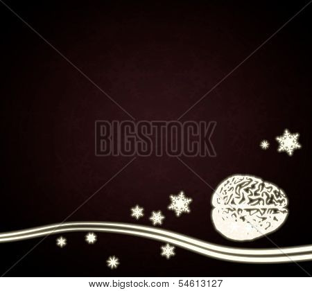 A Brain Design Red Christmas Background