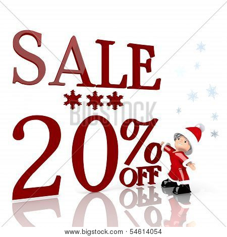 Mini Santa Claus With Giant Christmas Sale 20 Percent Off Label
