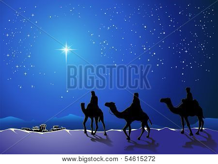 Christmas story. Three wise men go for the star of Bethlehem