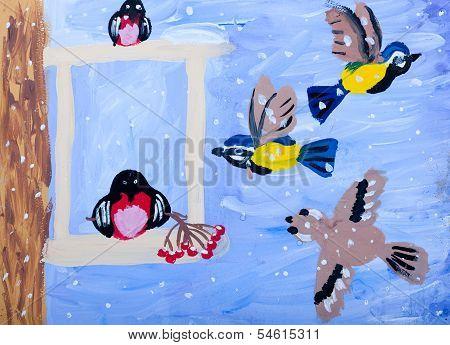Child's Gouache Picture Of Winter Birds