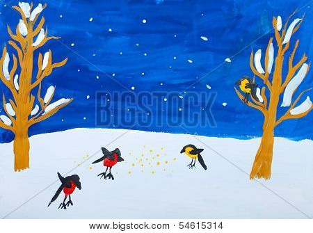 Child's Gouashe Picture Of Winter Birds