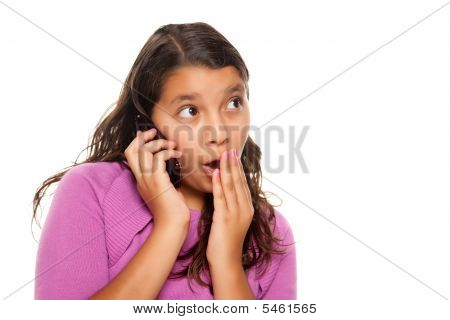 Shocked Pretty Hispanic Girl On Cell Phone