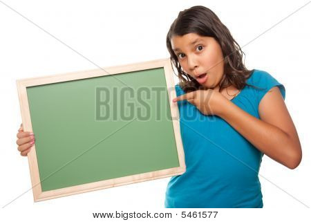 Pretty Hispanic Girl Holding Blank Chalkboard