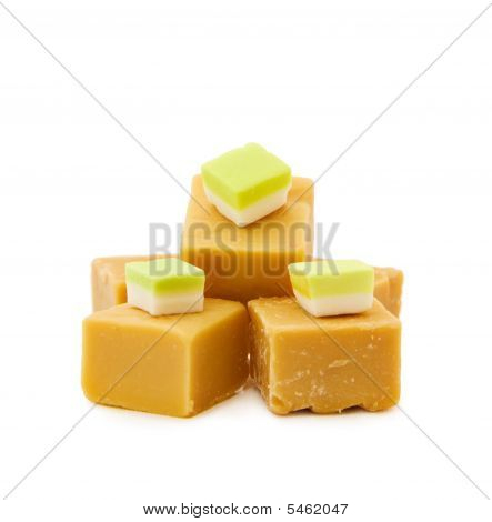 Caramel Fudge And Vanilla Candy On White