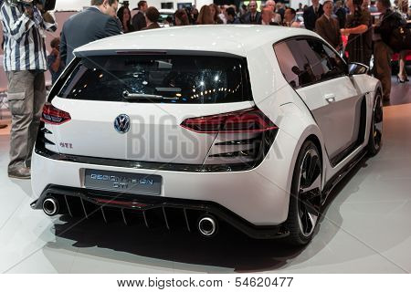Volkswagen Golf Gti Car On Display At The La Auto Show.
