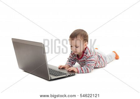 Child Push Button On The Laptop