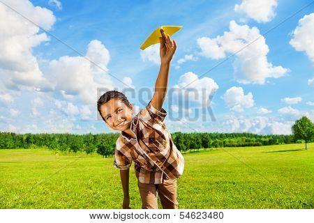 Happy Boy With Paper Plane