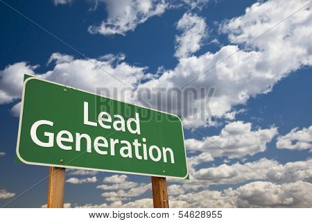Lead Generation Green Road Sign with Dramatic Sky and Clouds.