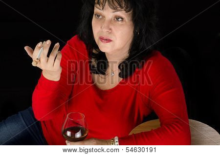 Drunk Mature Lady With A Cigarette