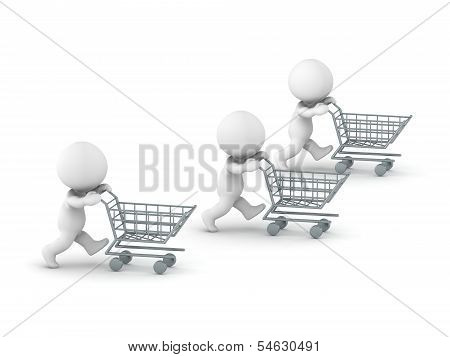 Three 3D guys going shopping