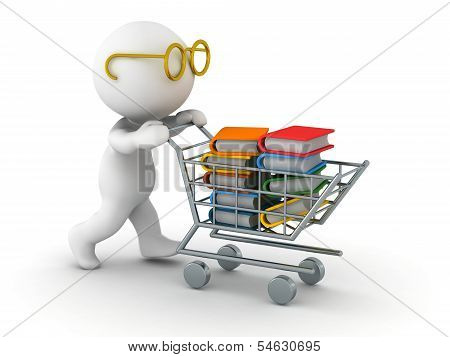 3D Man Shopping for Books