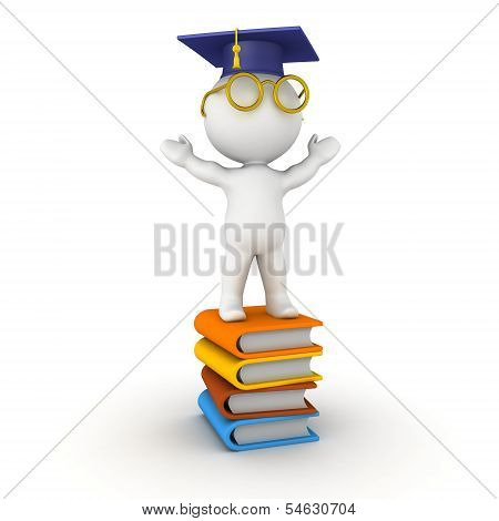 3D Man with graduation cap standing on books