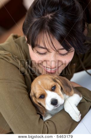 Girl With A Puppy