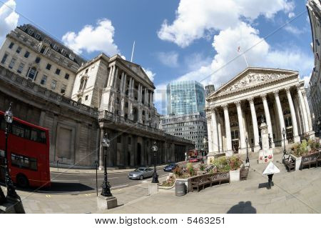 Royal Exchange And Bank Of England, London, England, Uk, Europe