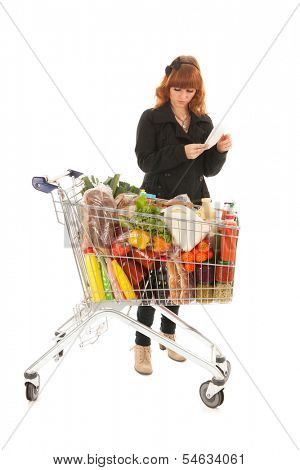 Woman with shopping list checking the groceries