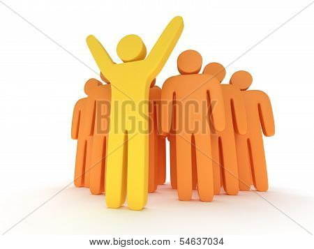Group of stylized orange people and yellow teamleader
