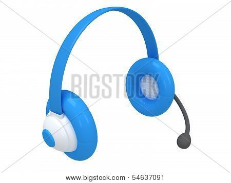 View of one blue headset - 3d render