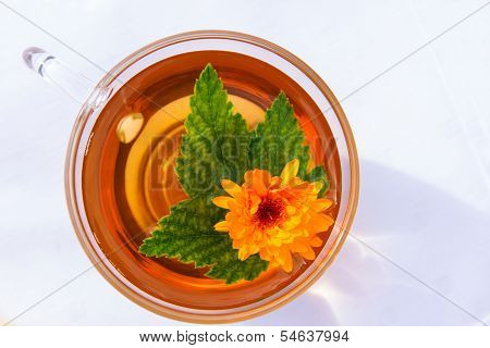 Cup Of Tea With Currant Leaf