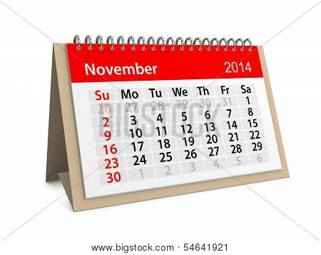 Monthly Calendar For New Year 2014. November