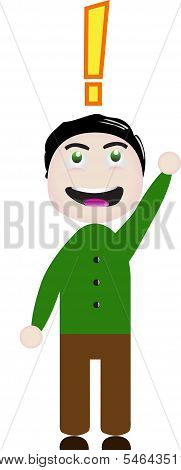 Vector Cartoon of a boy with an exclamation point