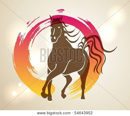Multicolor Chinese New Year Of Horse 2014 Zen Background