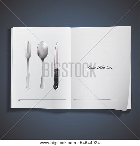 Realistic Knife, Fork And Spoon Printed On Book. Vector Design