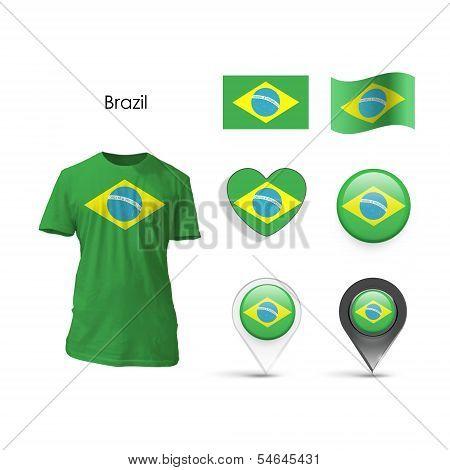 Set Of Brazil Design Over White Background