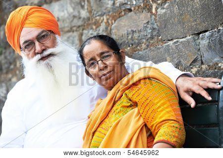 Portrait of elderly Indian sikh man in turban with bushy beard