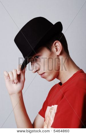 Young Male Model With Hat From Profile