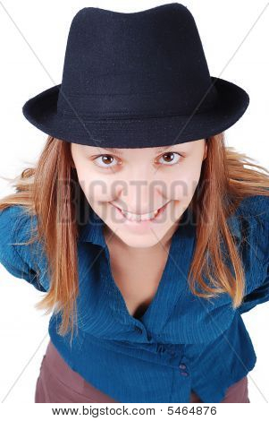 Female Model With Hat Smiling