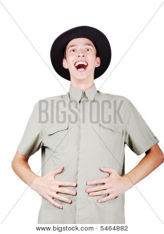 Model Is Laughing And Putting Hands On Stomach
