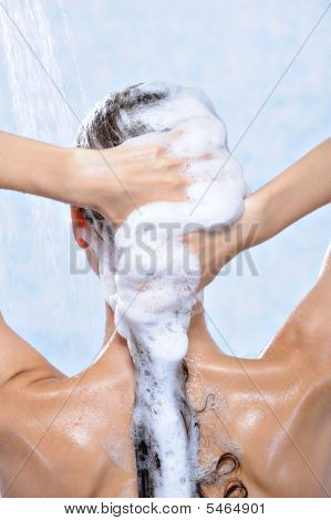 Washing Long Brunette Female Hair By Shampoo