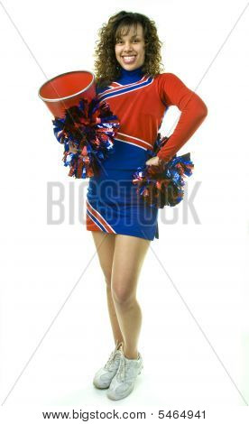 Cheerleader With Pom Poms And Megaphone