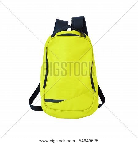 Yellow-green Backpack Isolated With Path