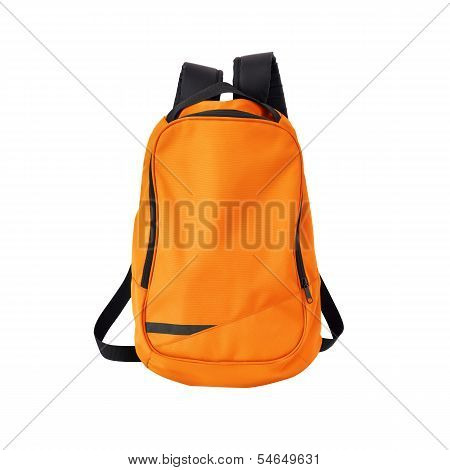 Orange Backpack Isolated With Path