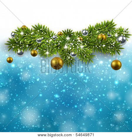 Blue winter abstract illustration with fir bundles and golden balls. Christmas background with snowflakes and sparkles. Vector.