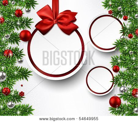 Christmas paper balls with fir twigs and red bubbles. Vector background.