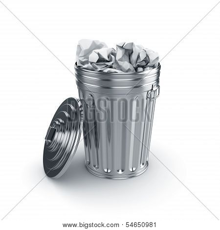 Trash Can Filled With Paper