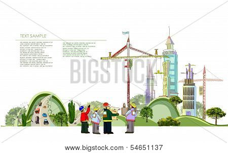 City collection Building site illustration