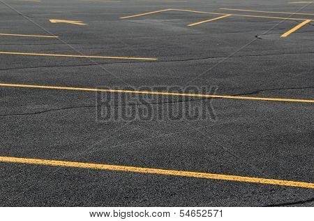New parking lot and yellow paint