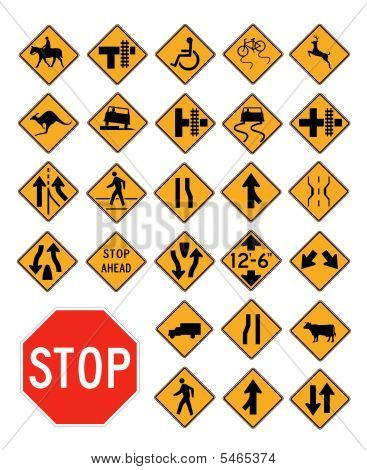 Vector Traffic Signs Collection On White