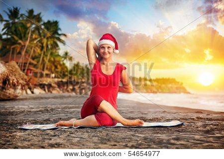 Christmas Yoga In Tropical Beach